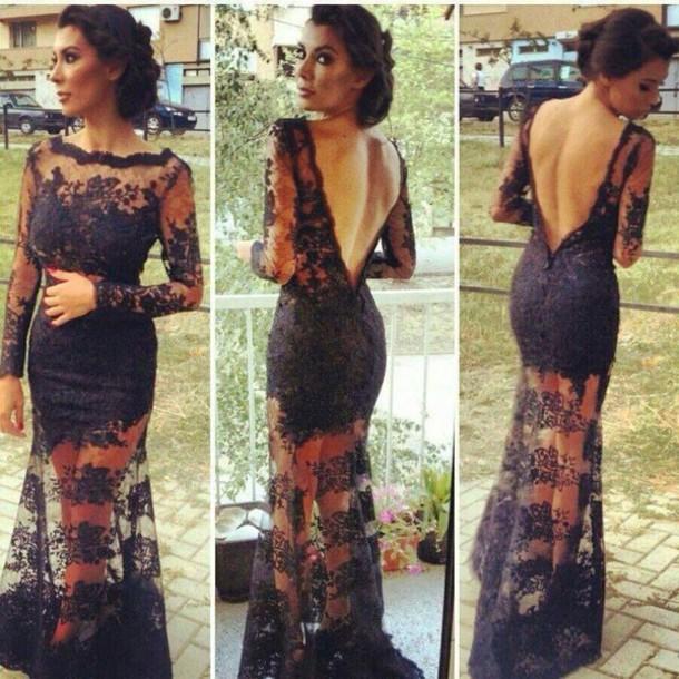Elegant Floor Length Sweetheart Sleeve Backless Long Black Dress Sheath Column See Though Lace Prom  on Luulla