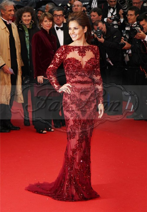 Cheryl Cole Zuhair Murad Dress Cannes 2013 Red Carpet Sexy Burgundy Lace Long Sleeve Celebrity Dresses Evening Dress-in Evening Dresses from Apparel & Accessories on Aliexpress.com
