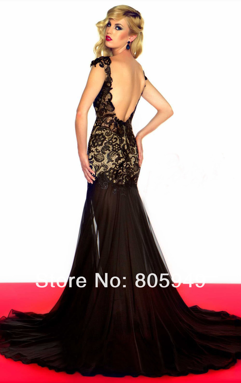 Real Picture ! Ravishing Sexy Open Back Split Cascading Meimaid See Through Red Lace Black Evening Dress-in Evening Dresses from Apparel & Accessories on Aliexpress.com