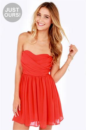 Lovely Strapless Dress - Orange Dress - Red Dress - Party Dress - $49.00