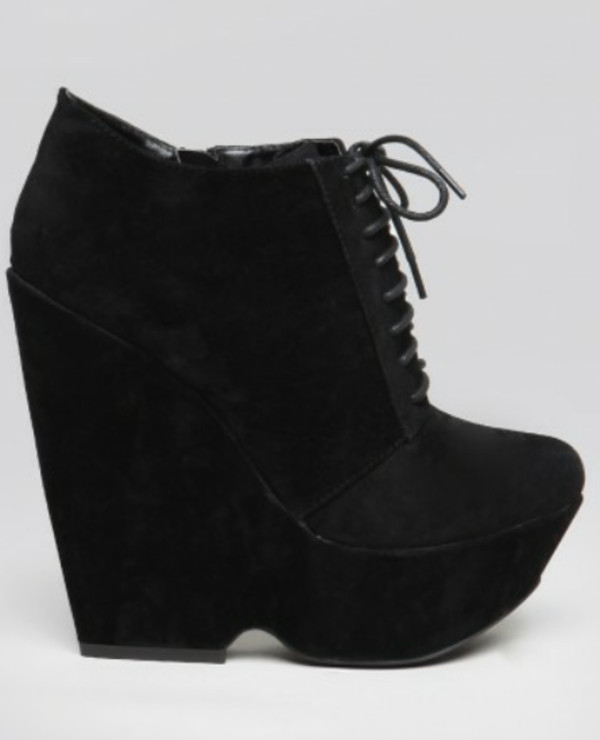 shoes wedges heels booties black size 9 lace up