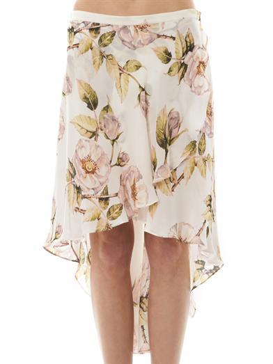 Thorn floral-print asymmetric skirt   Haute Hippie   MATCHESFA...