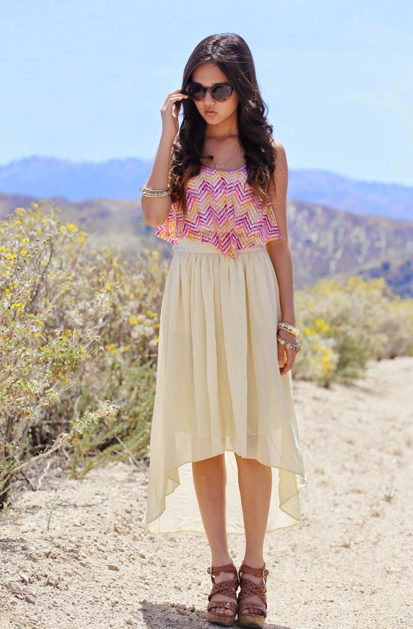 a flower child top jewels shoes skirt sunglasses