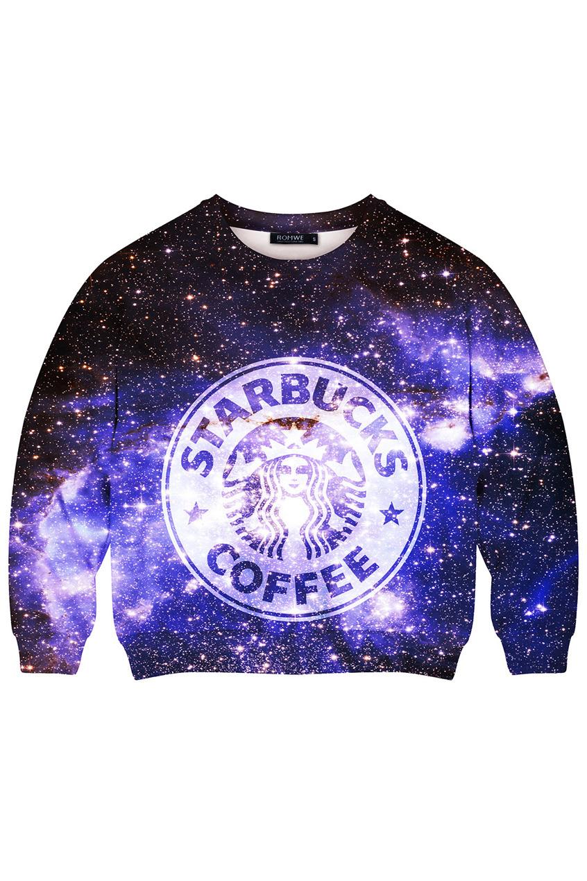 ROMWE | This Is Print Starbuck Coffee in Galaxy Print Sweatshirt, The Latest Street Fashion