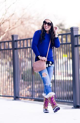 cute & little blogger top sweater shirt leggings jeans shoes bag hat sunglasses jewels blue sweater crossbody bag gucci bag pink bag boots winter boots