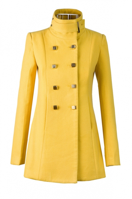 Fashion Standing Collar Double Breasted Coat - OASAP.com
