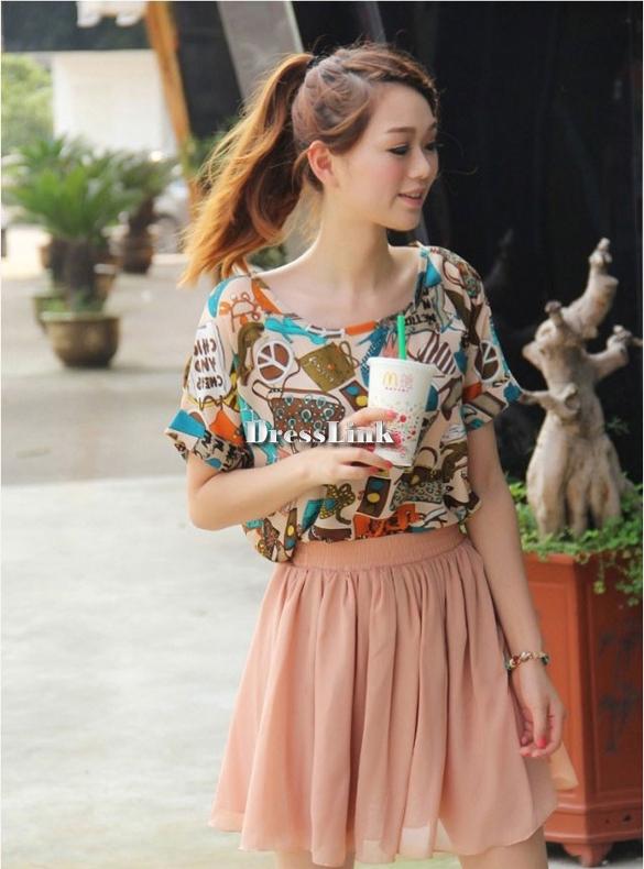 Women's Chiffon Pleated Retro Midi Short Skirt Elastic Waist Dress Fashion DL0   eBay
