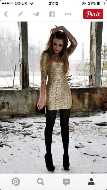 dress party outfits gold sparkly dress half sleeves short dress evening dress