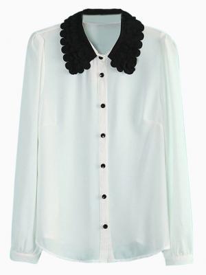 White Long Sleeve Shirt with Contast Shirt Collar | Choies