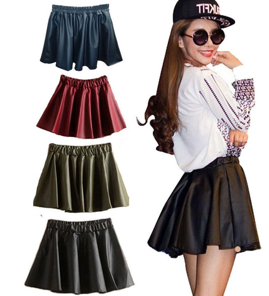 Fashion Women High Waisted PU Leather Plain Skater Flared Pleated Mini Skirt | eBay