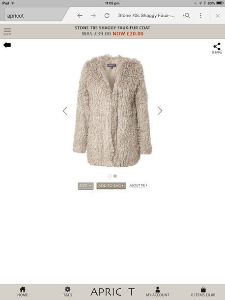 coat cream shaggy faux fur coat
