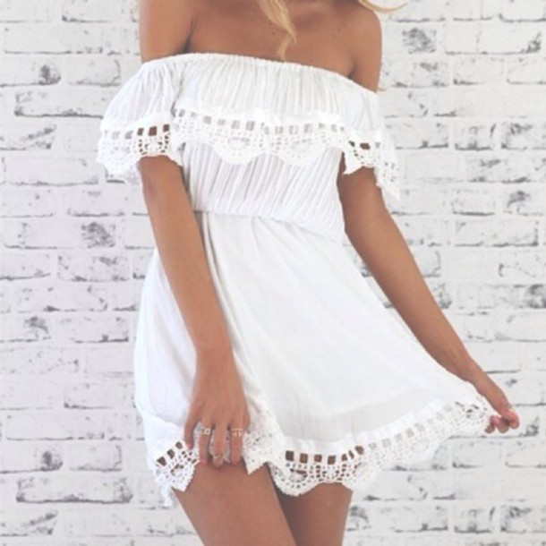 Dress Summer Fashion Girl Tumblr Cute Beach White Dress Wheretoget