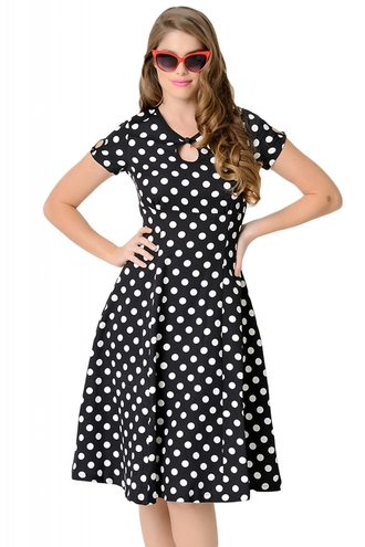 dress swing dress chic trendy girly date dress party wots-hot-right-now polka dots dotted black and white summer dress capped sleeves clubwear sexy dress