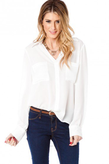 Chambers Blouse in White - ShopSosie.com on Wanelo