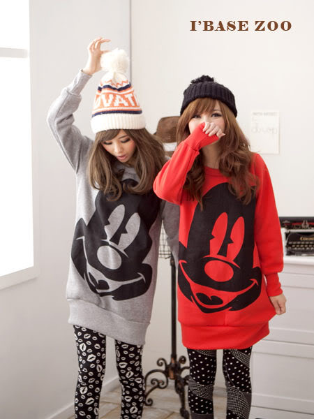 Cute Mickey Mouse face Black / Red big round neck T Shirt - Asian Korean Fashion