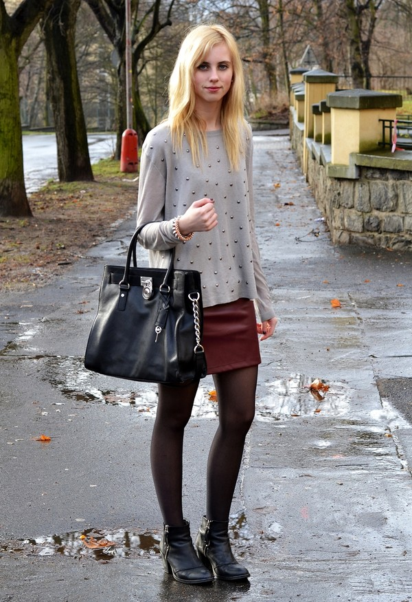 vogue haus sweater skirt jewels bag shoes