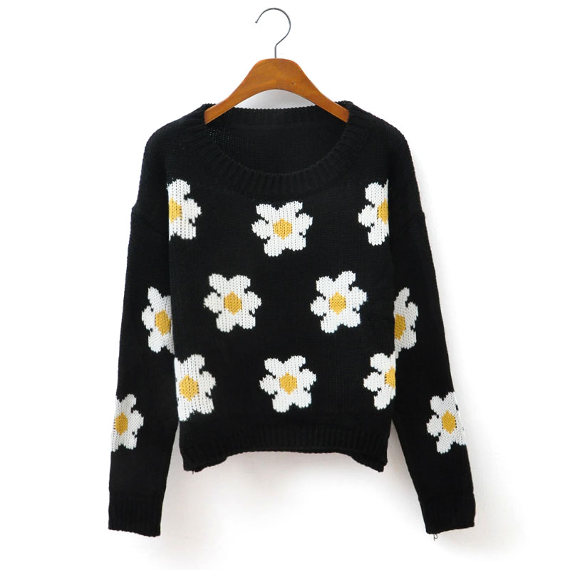 Aliexpress.com : Buy Free Shipping 2013 women's vivi pullover o neck sweater small daisy sweater short jacket from Reliable sweater jean jacket suppliers on ED FASHION