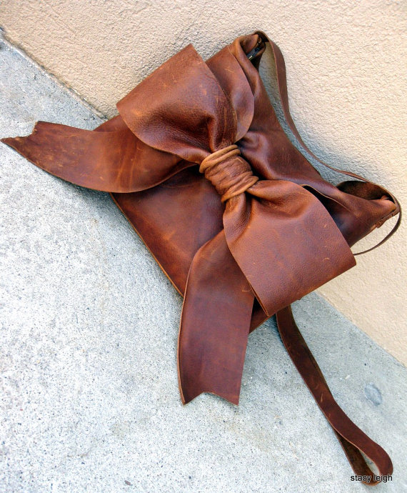 Distressed Brown Leather Bow Cross Body Bag by Stacy by stacyleigh