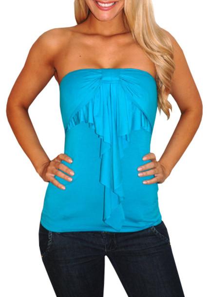 blue shirt strapless ruffle turquoise shirt