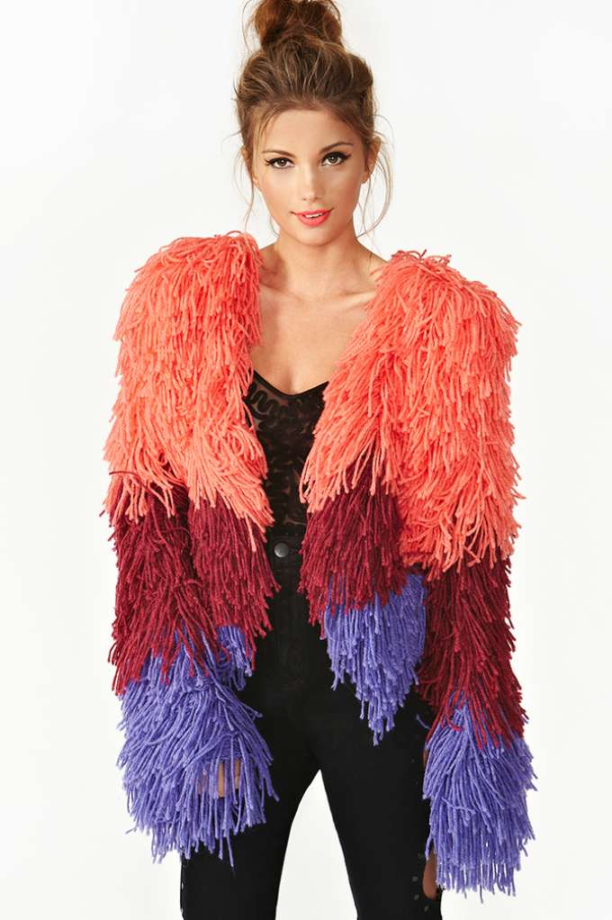 Fuse Shag Jacket - Ombre  in  Clothes at Nasty Gal