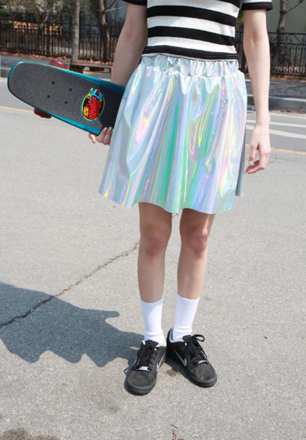 skirt grunge holographic