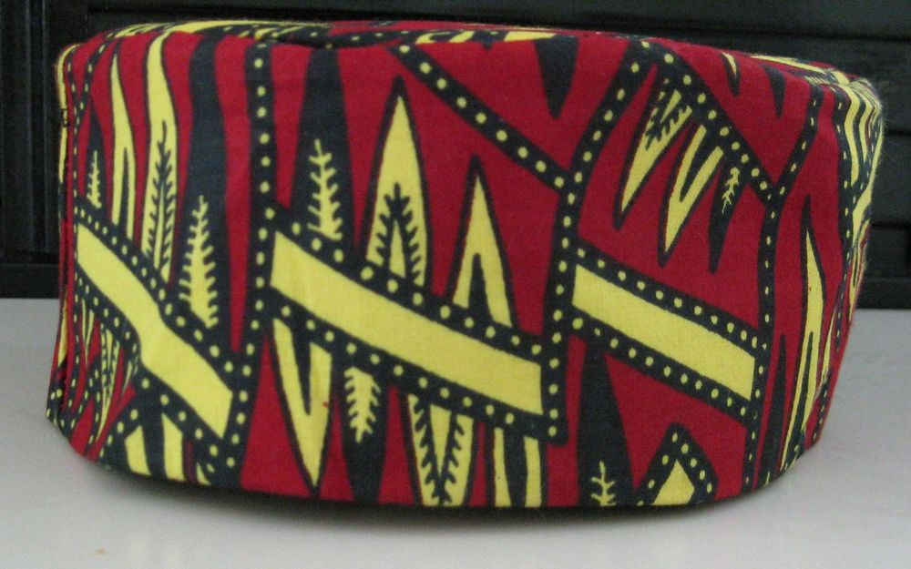 African Kufi Hat Cotton Vintage Print Fully Lined from Senegal New Adult | eBay
