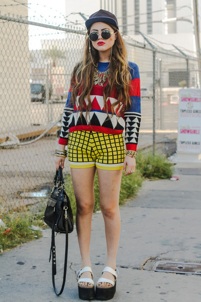 fated to be hated blogger sunglasses sweater shorts bag checkered hipster dope platform shoes knitwear