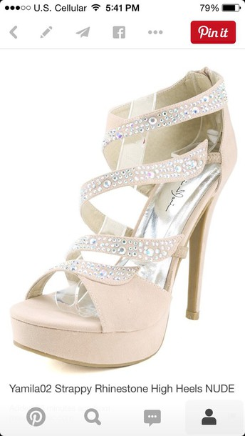shoes nude high heels rhinestones