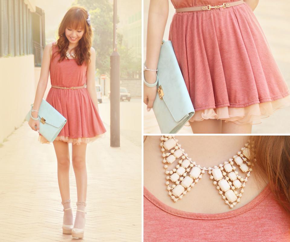 Dotthy Wong - Ingni Shoes, Bbw Tank Dress, Bbw Pastel Skirt, Accessorize Clutch Bag, One Spo Necklace - Apple Pie ♥ | LOOKBOOK