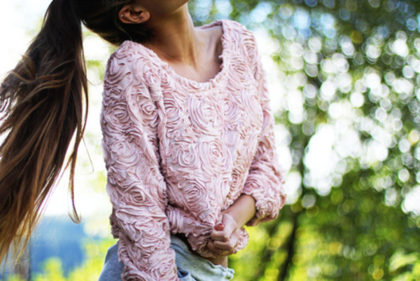 sweater floral flowers sweatshirt shirt pink roses