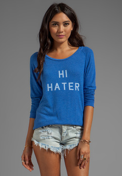 Local Celebrity Hi Hater Bye Hater Sweater in Royal Stone @ Revolve Clothing - 5th village