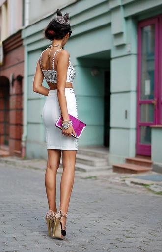 macademian girl skirt shoes bag jewels sunglasses