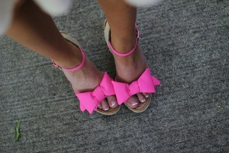 shoes wedges rope hot pink sandals straps