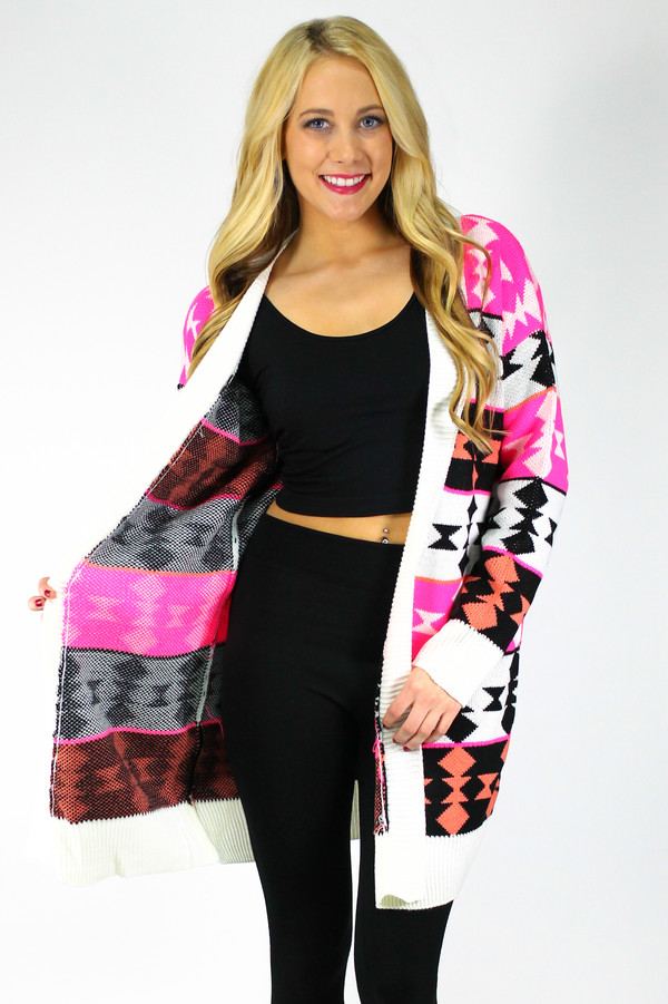 sweater neon cardigan knitted cardigan oversized cardigan tribal cardigan oversized cardigan tribal cardigan aztec tribal pattern pink