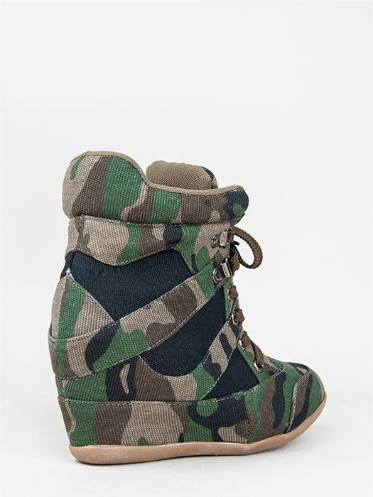 New Nature Breeze Women Lace Up Wedge Sneakers Multi Sz Green Camouflage DANA13 | eBay