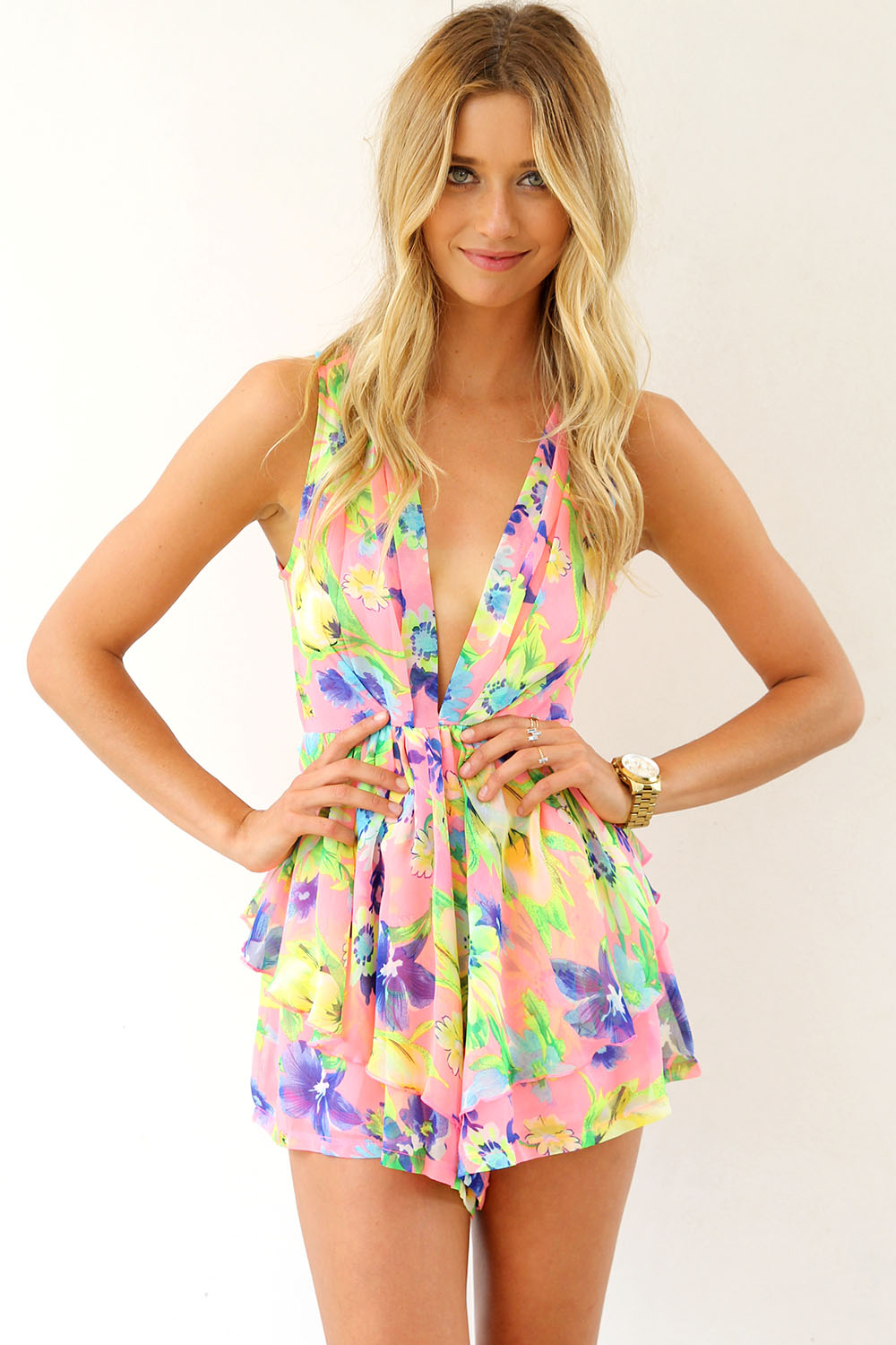 Multi Jump Suits/Rompers - Neon Print Mini Playsuit with | UsTrendy