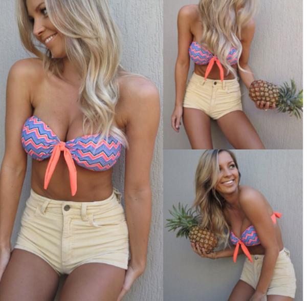 shorts High waisted shorts yellow cute summer bikini swimwear