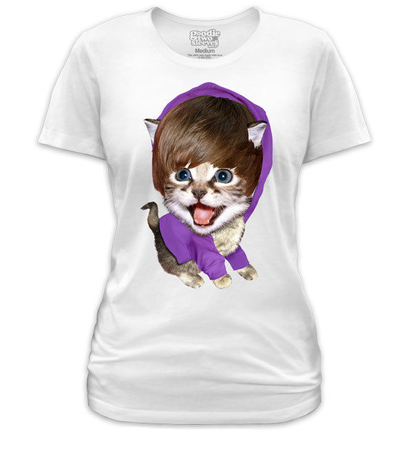 Goodie Two Sleeves Baby Baby Baby Meow Ladies TShirt,Funny Justin Bieber,Cat | eBay