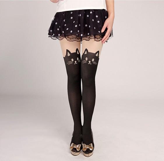 Sexy Cute Cat Tail Gipsy Mock Knee High Hosiery Pantyhose Tattoo Legging Tights   eBay