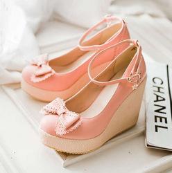 Online Shop 2014 spring single shoes sweet bow women's wedges shoes hasp platform shoes|Aliexpress Mobile