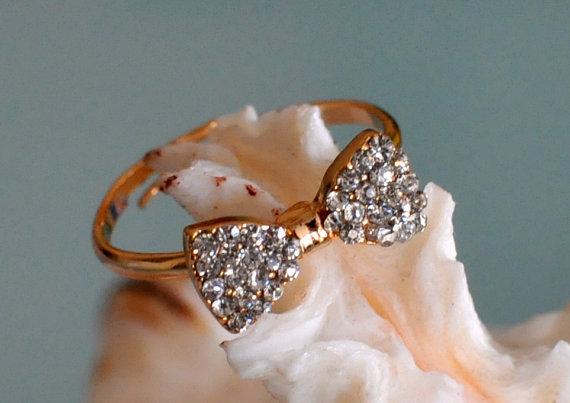 Bow Ring Rhinestone Bow Ring Gold Bow Ring Adjustable von lucymir