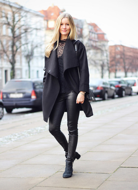 passions for fashion blogger leather pants black coat winter outfits coat top pants bag shoes jewels