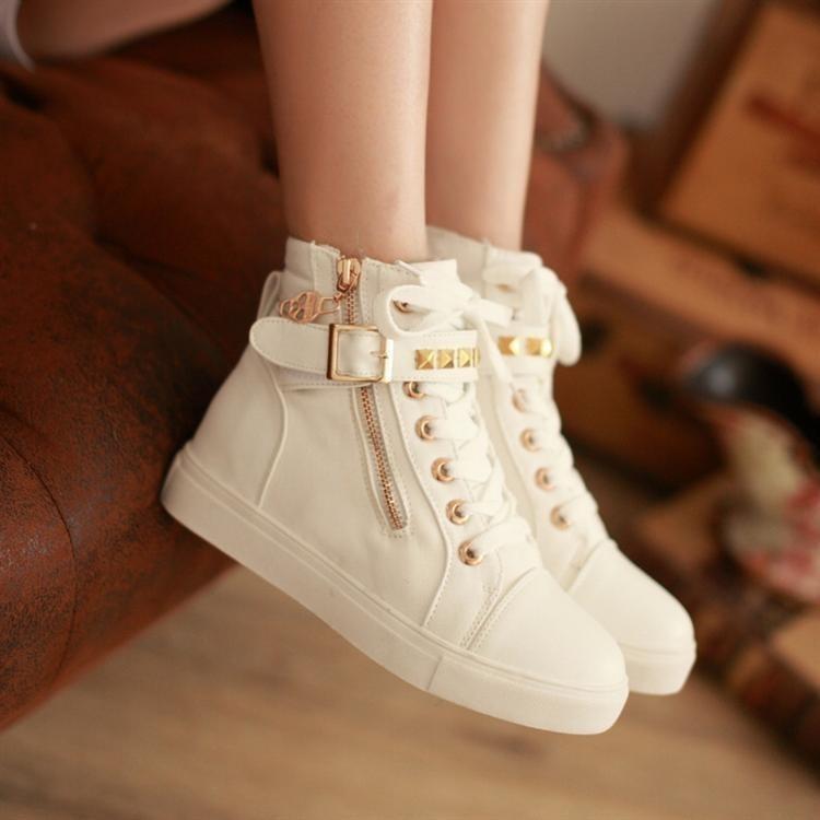 Women's Spike Stud Canvas Sneaker Buckle Tennies Platform Creeper Shoes | eBay