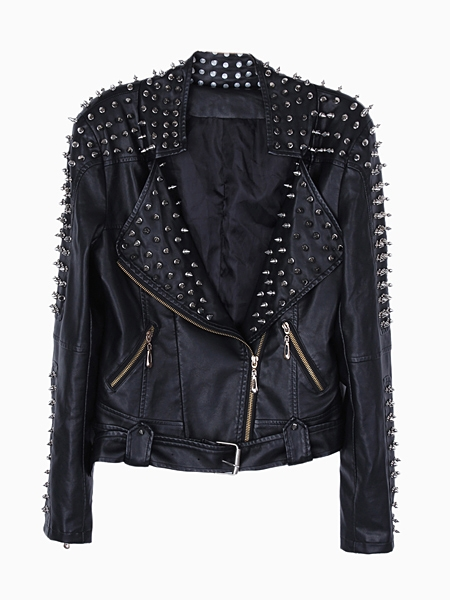 PU Biker Jacket With Stud | Choies