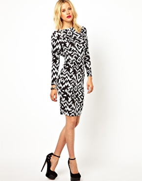 ASOS Petite | ASOS PETITE Exclusive Body-Conscious Dress In Mono Print With Square Back at ASOS