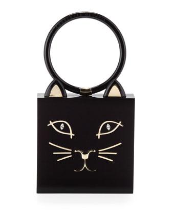 Charlotte Olympia Kitty Square Acrylic Box Clutch, Black - Neiman Marcus