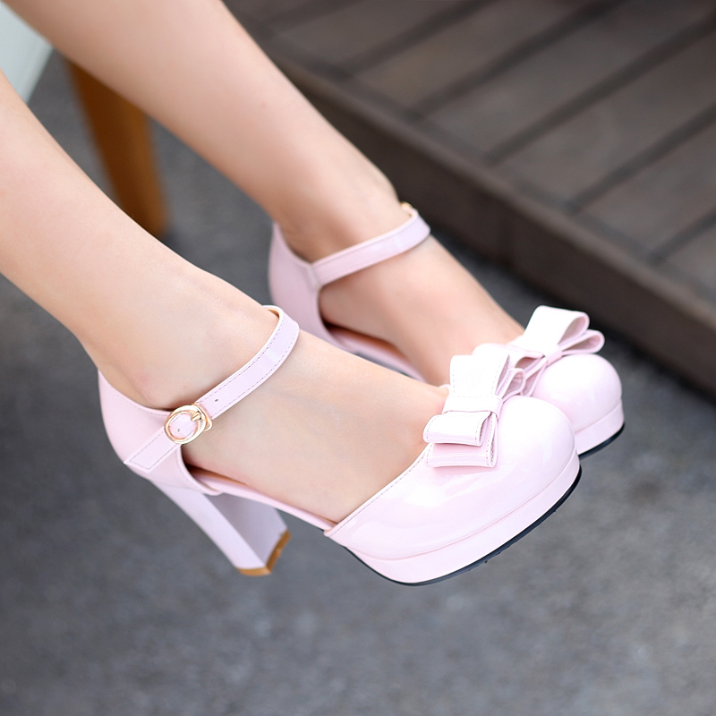 FREE SHIPPING 2013 japanned leather sweet bow thick heel high heeled single shoes nude color women's shoes sandals female-inPumps from Shoes on Aliexpress.com