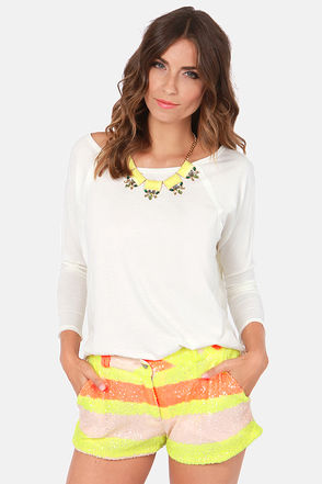 Gypsy Junkies Brit Shorts - Neon Shorts - Sequin Shorts - $71.00