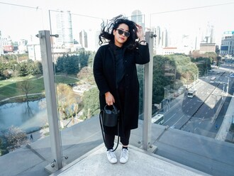 superwowomg blogger coat shirt pants shoes sunglasses bag sneakers black coat winter outfits