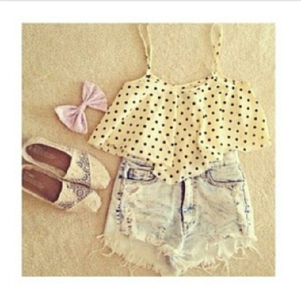 shorts blouse shoes